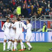 LVIV, UKRAINE - NOVEMBER 25, 2015: Real Madrid players celebrate after scored a goal during UEFA Champions League game against FC Shakhtar Donetsk at Arena Lviv stadium