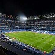MADRID, SPAIN - APRIL 29: Night view of Santiago Bernabeu stadium on April 29, 2015 in Madrid, Spain. Real Madrid C.F. was born in the year 1902 and Santiago Bernabeu Stadium is its headquarters